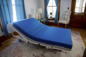 Floor Hugger with vinyl mattress cover head raised